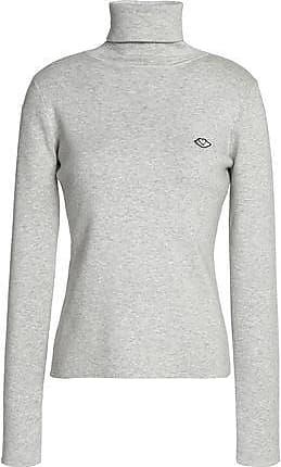 See By Chloé Woman Appliquéd Cotton-blend Turtleneck Top Ecru Size XL See By Chloé All Size 7mtn5WoE