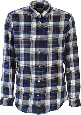 Camisa de Hombre Baratos en Rebajas, Azul Vaquero, Algodon, 2017, L S XL Selected