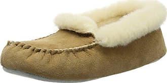 Shepherd 45/8022 - Pantuflas Cálidas con Forro de Cuero Mujer, Color Marfil, Talla 38 EU