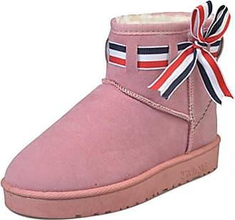 SHOWHOW Damen Flach Warm Süß Schleife Ugg Boots Kurzschaft Stiefel Pink 38 EU BWaZT1s9K