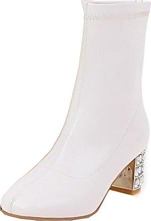 SHOWHOW Damen Schleife Strass Schuh Kurzschaft Stiefel mit Absatz Pink 44 EU A7RWA