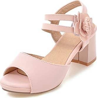 Damen Klassischer Blume Peep Toe Blocksbsatz Sandalen Pink 35 EU SHOWHOW ACkUGSzXN