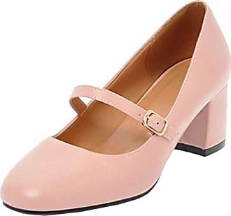 SHOWHOW Damen Rund Zehe Cut-Outs Blockabsatz Mary Jane Pumps Weiß 39 EU gmJ2HQP