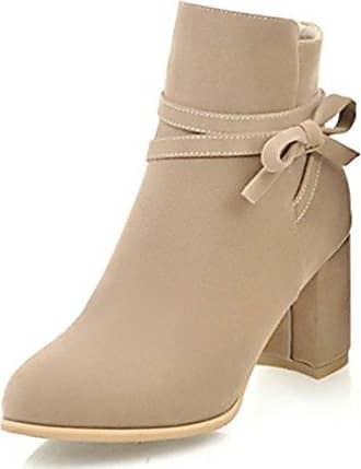 Aisun Damen Nubuklederoptik Blockabsatz Reißverschluss Kurzschaft Chelsea Stiefel Mit Schleife Beige 36 EU YZkgL2U