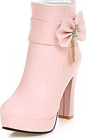 SHOWHOW Damen Süß Schleife Kurzschaft Stiefel Mit Absatz Stiefelette Pink 35 EU SSzoq