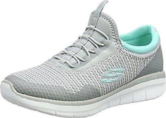 Skechers Synergy 2.0-Mirror Image, Zapatillas sin Cordones para Mujer, Gris (Charcoal/Coral), 35 EU
