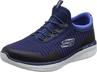 Skechers Microburst-Topnotch, Zapatillas sin Cordones para Mujer, Azul (Navy), 39 EU