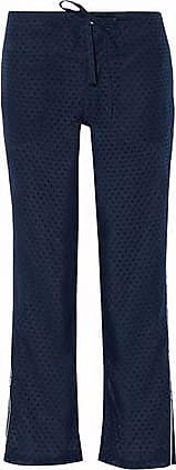 Sleepy Jones Woman Cropped Pinstriped Wool Straight-leg Pajama Pants Navy Size S Sleepy Jones Outlet Fast Delivery BslIeAzD