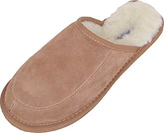 Snugrugs Suede with Wool Lining and Rubber Sole, Unisex Erwachsene Flache Hausschuhe, Braun (Camel), 40.5 EU