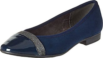 Tamaris Damen 22128 Geschlossene Ballerinas, Blau (Navy Leather), 36 EU