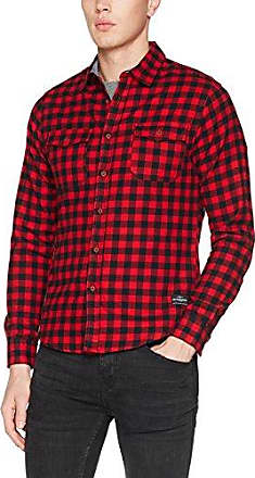 Tartan Camisa para Hombre, Rojo (Red Tartan), XL Harrington