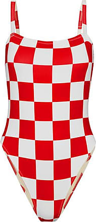 + Re/done The Malibu Karierter Badeanzug - Rot Solid & Striped