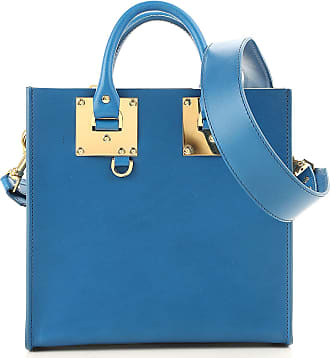 Tote Bag On Sale, Blue Navy, Leather, 2017, one size Sophie Hulme