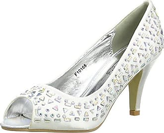 Diamante Trim Wedding Court, Ballerines et Talons Femme - Blanc - Blanc, 7 UK (40 EU)Spot On