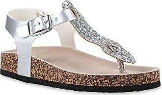 Bequeme Damen Sandalen Zehentrenner Glitzer Komfort-Sandalen Kork Bequem Strand Schnallen Schuhe 129011 Silber Schnallen 41 Flandell wpTQe