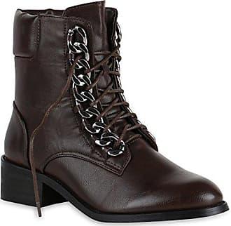 Damen Biker Boots Metallic Details Leder-Optik Stiefeletten Schuhe 148025 Braun Metallic 37 Flandell 7FmmUASeNd