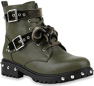 Damen Biker Boots Schnürstiefel Schnallen Nieten Stiefeletten Schuhe 135637  Grün 36 Flandell Stiefelparadies cR8o4 e7b4c37f9c