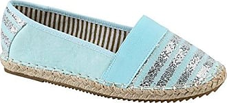 Damen Espadrilles Bast Slipper Glitzer Streifen Sommer Schuhe 142307 Hellblau Aline 36 Flandell bgQhl