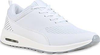 Stiefelparadies Damen Herren Lauf Spitze Sport Profilsohle Schnürer Schuhe 117049 Weiss Lochung 40 Flandell RUBQC