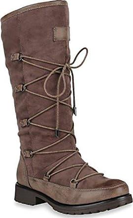 Damen Klassische Stiefel Wildleder-Optik Boots Gefütterte Schuhe 152128 Grau Zipper 39 Flandell jy1mZidx1