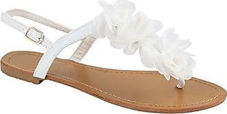 Damen Sandalen Zehentrenner Blumen Sommer Flats Damen ÜbergrößenGr. 36-42 Schuhe 132287 Hellgrau 39 Flandell iqCOHS6zvs