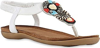 Damen Sandalen Zehentrenner Strass Blumen Flats Leder-Optik Schuhe 141581 Weiss Weiss 39 Flandell Stiefelparadies iGn5JG5J