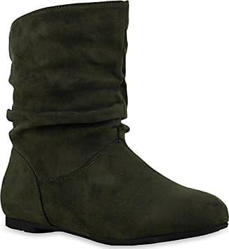 Elegante Damen Stiefel Overknees Langschaft High Heels Plateau Schuhe 127549 Dunkelgrün Zipper 38 Flandell WKTme