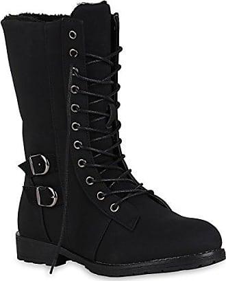Damen Schuhe Schnürstiefeletten Warm Gefütterte Stiefeletten Kunstfell 150401 Khaki Bexhill 40 Flandell OBSBMMQ