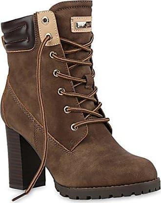 Damen Schnürstiefeletten Winterstiefel Worker Boots Schnürer Winterboots Stiefeletten High Heels Schuhe 125830 Khaki 38 Flandell Stiefelparadies kcRRTDk