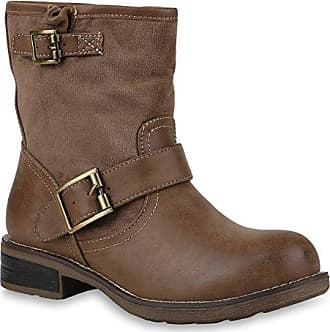 Damen Schuhe Biker Boots Stiefeletten Stiefel Schnallen 146495 Khaki Schnallen Camiri 41 Flandell Stiefelparadies 5r7Jbs