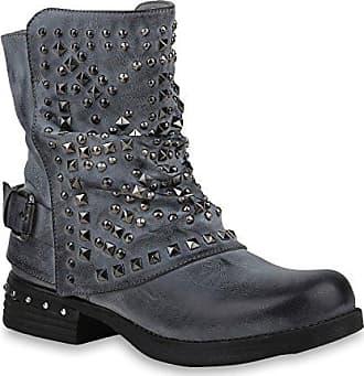 Damen Klassische Stiefel Wildleder-Optik Boots Gefütterte Schuhe 152128 Grau Zipper 39 Flandell RcbHIY