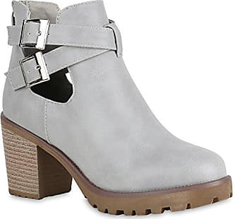 Damen Plateau Boots Leder-Optik Stiefeletten Cut Outs Schnallen 154790 Grau 39 Flandell Stiefelparadies Aze1lnQVr