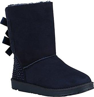 Damen Stiefeletten Schnürstiefeletten Stiefel Schuhe 147171 Dunkelblau Pailetten 37 Flandell WebWH4N