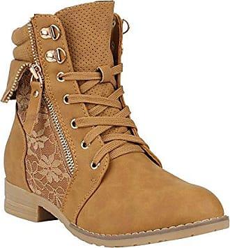 Stiefelparadies Damen Stiefeletten Schnürstiefeletten Worker Boots Zipper Schuhe 144299 Rot Autol 41 Flandell nqlSuR