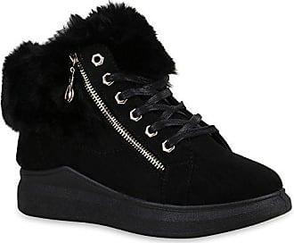 Damen Schuhe Sneaker Wedges Warm Gefütterte Plateau Kunstfell 152770 Schwarz Zipper Bexhill 40 Flandell Stiefelparadies Zzgjj