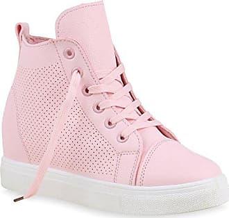 Damen Sneaker-Wedges Sneakers Pailletten Sport Keilabsatz Zipper Ketten Schnürer High Top Wedge Sneaker Schuhe 129404 Rosa Brito 39 Flandell FzdOSkPJ