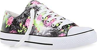 Damen Sneakers Blumen Freizeit Denim Sneaker Low Stoff Turn Schuhe 118811 Schwarz Grün 37 Flandell Stiefelparadies Ef3GpO9