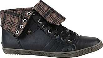 Damen Sneakers Sneaker High Trendy Freizeit Sport Zipper Leder-Optik Flats Freizeit Schnürer Schuhe 141502 Schwarz Schwarz Karo 39 Flandell Stiefelparadies K8mJOnKLD
