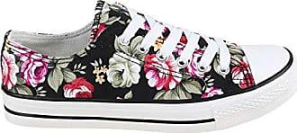 Damen Sneakers Spitze Denim Sport Strass Stoff Blumen Prints Textil Sneaker Low Schuhe 136084 Schwarz Blumen 37 Flandell Stiefelparadies eCDR6rH