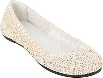 Klassische Damen Ballerinas Modische Flats Knopf Nieten Snake Denim Ballerina Spitze Schleifen Schuhe 139232 Creme Spitze 38 Flandell TvYZ1
