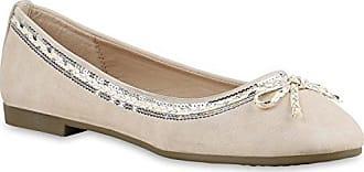 Klassische Damen Ballerinas Spitzen Details Freizeit Flats Schuhe 112575 Nude Schleife 40 Flandell 64ZxT