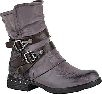Damen Stiefeletten Biker Boots Schwarze Stiefel 151763 Schwarz Bernice Schnallen 36 Flandell Stiefelparadies f6nuiPcD