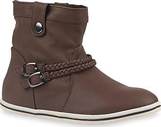 Sportliche Damen Stiefeletten Schnallen Zierknöpfe Flache Boots Schuhe 113613 Braun 40 Flandell Stiefelparadies LrhZl4fNu
