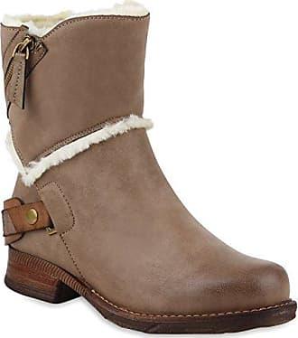 Warm Gefütterte Damen Winterstiefel Kunstfell Stiefel Profilsohle Schuhe 109821 Taupe Bömmel 36 Flandell nETjtd