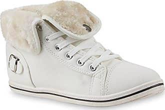 Warm Gefütterte Sneakers Damen Sneaker High Kunstfell Winter Gesteppte Flats Winter Sport Schnürer Übergrößen Schuhe 111770 Weiss 37 Flandell Stiefelparadies qk4cgPp