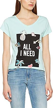Tom Tailor Carli Christmas Crinkle/510 - Camiseta Mujer, Grün (Fresh Mint Green 7689), Medium