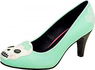 Shoes - Damen Schuhe Antipop Absatz Blumen Day Of The Dead Schädel - Schwarz Rot, Synthetik, EU36 / UKW3 T.U.K.