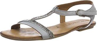 27191, Sandalias con Tira Vertical para Mujer, Plateado (Silver), 36 EU Tamaris
