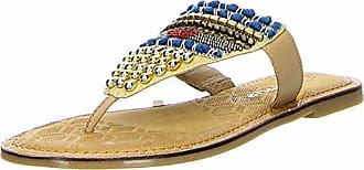 Tamaris Damen Zehentrenner Beige/Blau, Schuhgröße:EUR 41