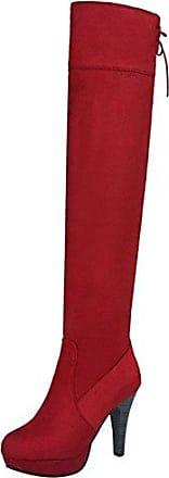 RAZAMAZA Damen Mode Blockabsatz Kurz Stiefel Side Zipper Red Size 33 Asian fPyUVws